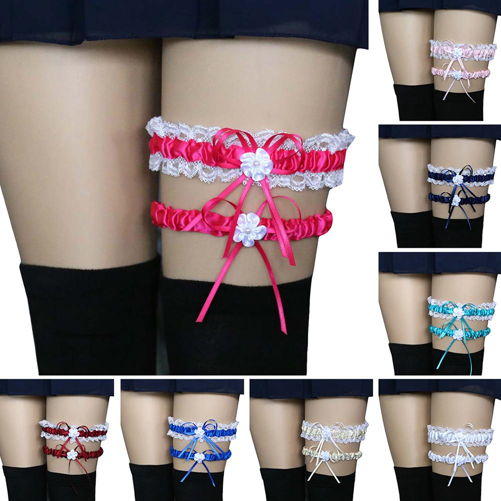 2Pcs/Set Fashion Leg Garter Belt Sexy Women Girl Bridal Lingerie Wedding Party Cosplay Lace Bowknot Suspender