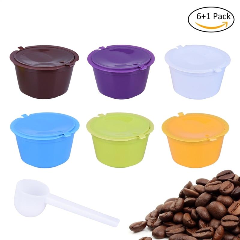 Pack de 7 Uds de filtros de café de plástico, cápsula rellenable, reutilizable, Compatible con cucharas Nescafe Dolce Gusto Espresso Nescafe