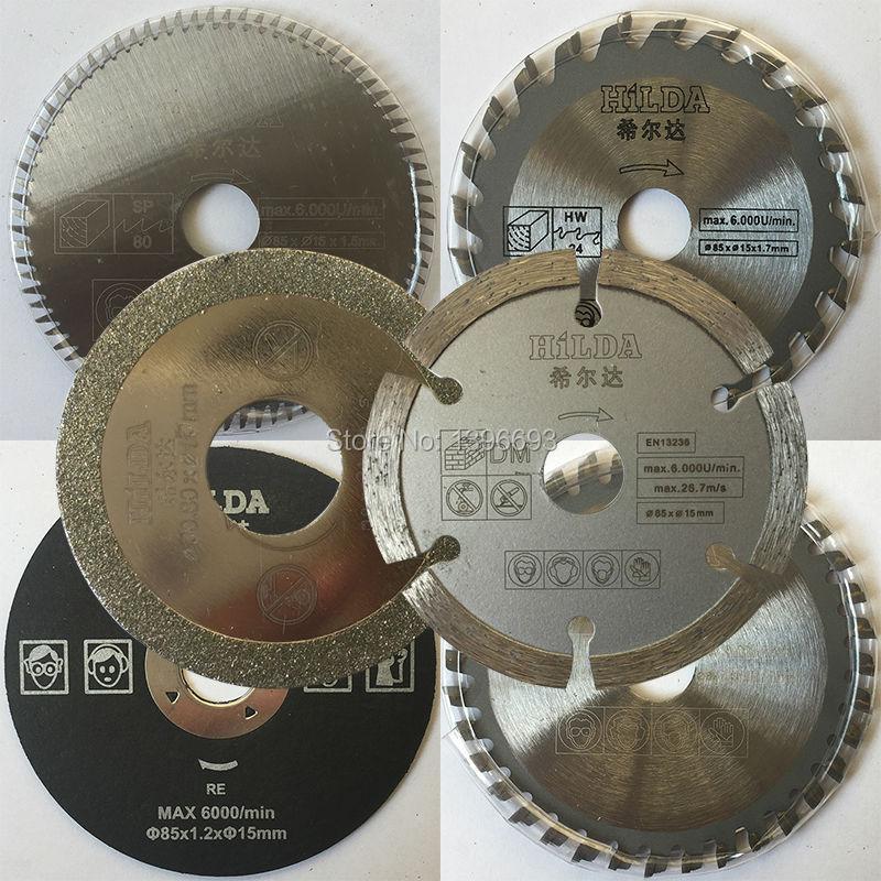 6 pçs/set Acessórios para mini serra circular elétrica, multi velocidade viu dick 85 diâmetro mm, lâmina de serra, Poder ferramenta acessória ferramenta lâminas