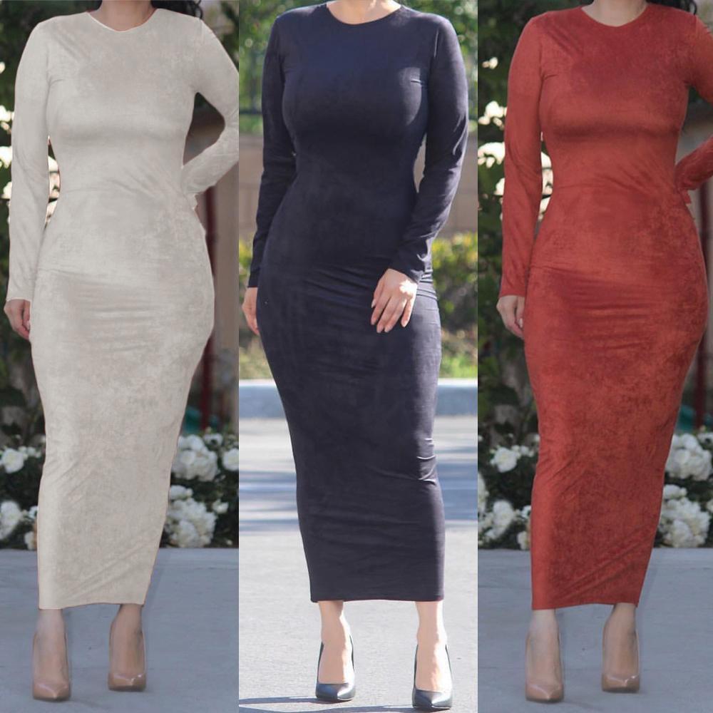 Casual Muslim Abaya Maxi Bodycon Dress Women Long Robe Gown Tunic Ramadan Islamic Sheath Dresses Casual Solid Color Fashion New