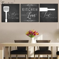 3 panels kitchen love poster prints oil painting on canvas wall art murals pictures for living room decoration no frame