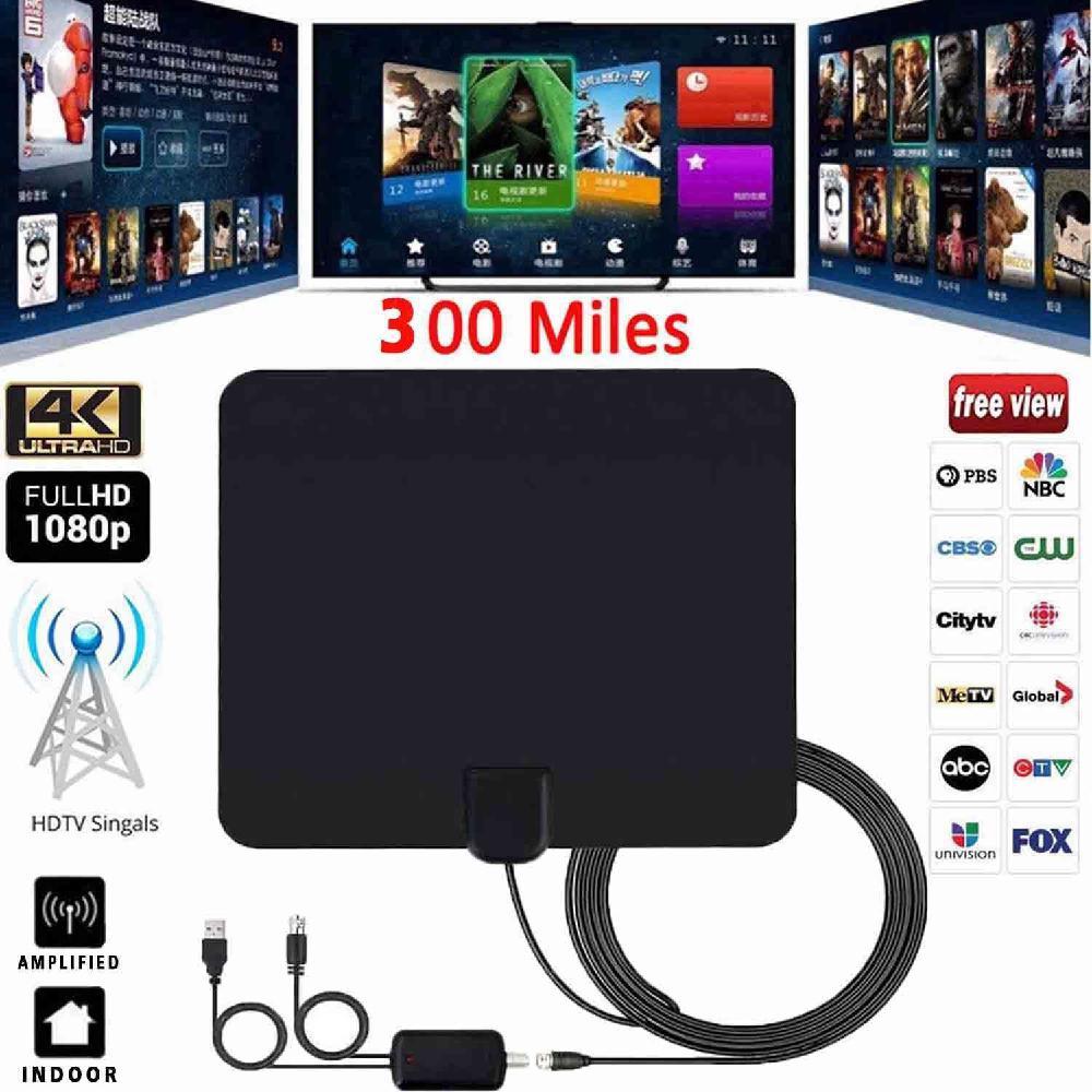 1080P HDTV Antenna Ultra Thin Flat Indoor HDTV Amplified HD TV Signal Antenna 16FT Coax 300 Miles d20