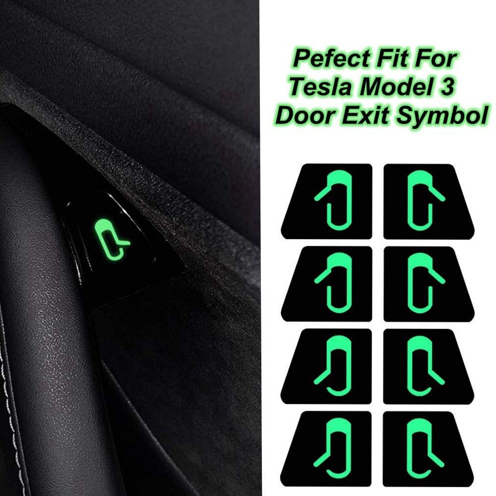 8 unids/set de accesorios de coche Puerta Abierta pegatina decoración Interior botón abierto recordatorio apto para Tesla modelo 3