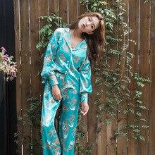 Printemps et automne Simulation soie ménage vêtements à manches longues col rabattu pyjama ensemble lâche pas de Bondage Pyjamas vêtements de nuit