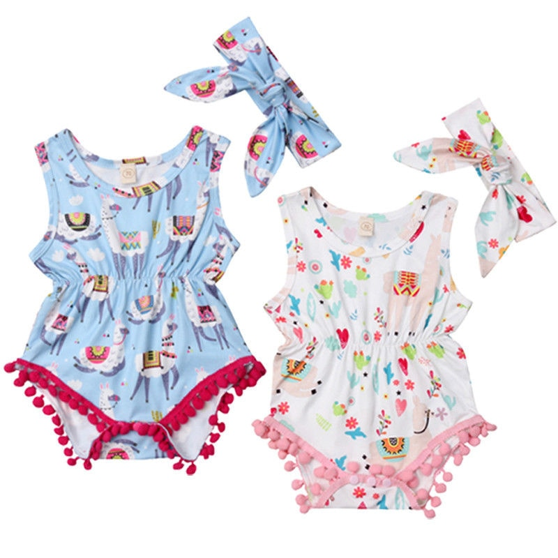 2Pcs Tassels Newborn Baby Girls Cotton Floral Romper Jumpsuit Outfits Clothes Cartoon Alpaca Set