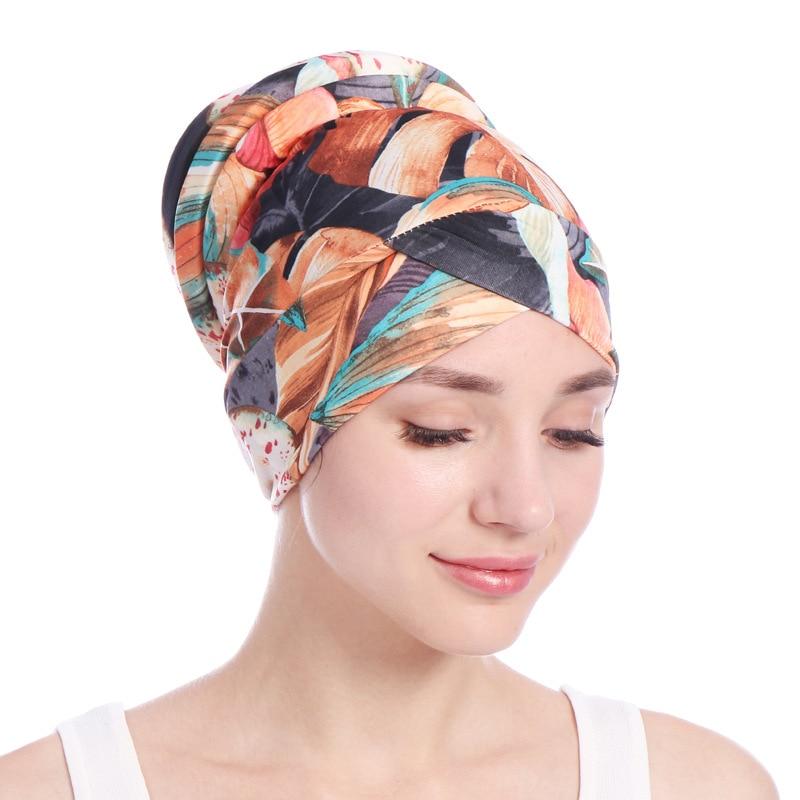 Impressão Esponja Macia Cauda Mulheres Muslimf Chapéus Hijab Underscarf Cap Cabeça Envolta Cachecol Hijab Muçulmano Chapéu Turbante Headwrap Cachecol