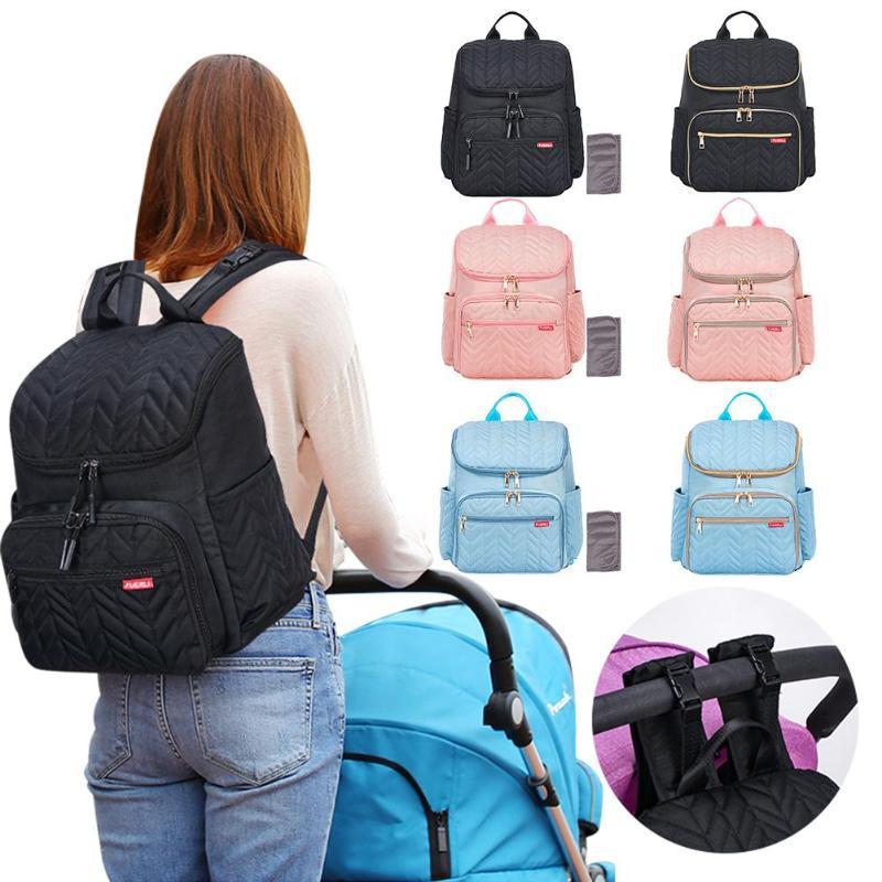 Solid Color Mummy Diaper Bags Large Capacity Maternity Nappy Shoulder Bag Waterproof Mother Backpack Baby Nursing Zipper Handbag