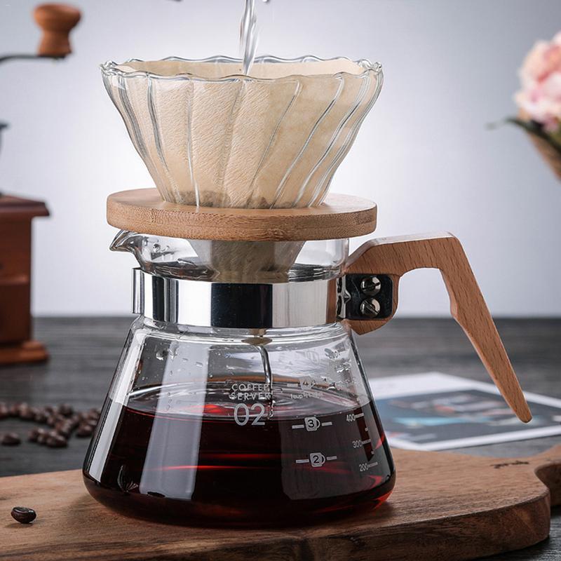 Cafetera de mano de vidrio de borosilicato de alta temperatura de la olla, mango de madera resistente, cafetera de vidrio