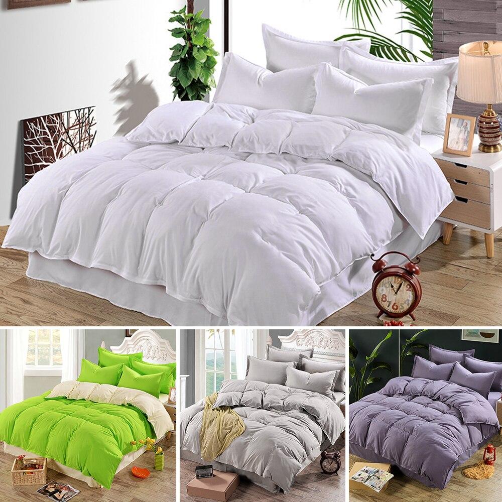 Cubierta de edredón liso, juego de cama con edredón, cama individual doble de tamaño King, acolchada de algodón y satén para niños y adultos