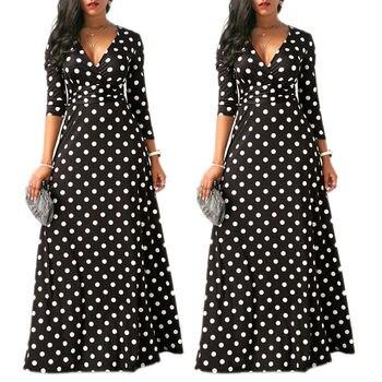Женское длинное платье в горошек, Пляжное Платье для вечеринок