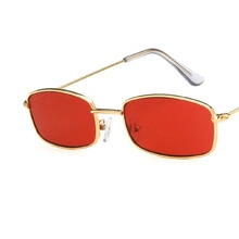 Retro Small Rectangle Sunglasses Men Women Vintage Red Sun Glasses Ladies Slim Metal Frame Eyewear S