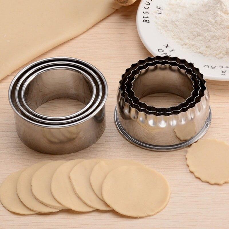 Utensilio de cocina para hacer pasteles y galletas, utensilio para cortar Dumplings de acero inoxidable de 3 uds, moldes para envoltorios redondos y con forma de flor