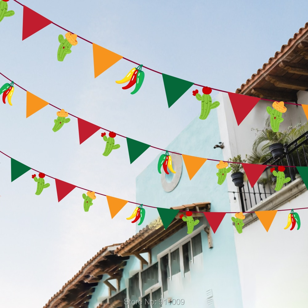 Mexiko Cinco de Mayo Partei Liefert Wand Hängen Banner Rot Gelb Grün Kaktus Bunting Flags Party Dekorationen BA135