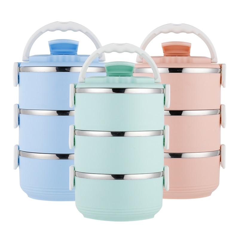 Caixa de Almoço do Aço Inoxidável garrafa térmica Criança Para Alimentos Recipiente Sopa Thermo 3 Camada 3 Cores Lancheira Recipiente de Isolamento Térmico