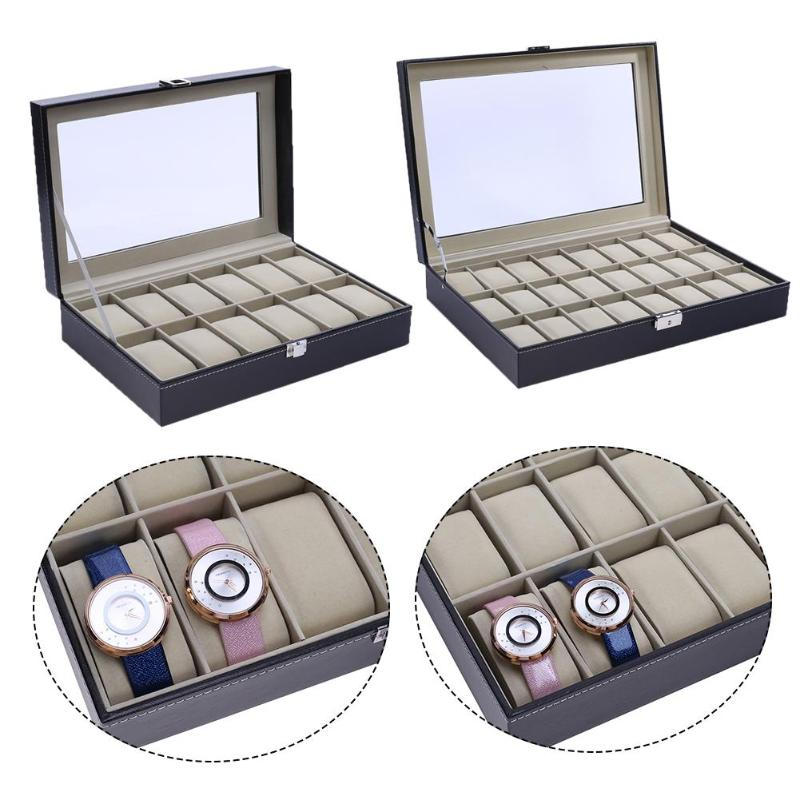 12-bit 24-bit de gama alta caja de reloj de ventana de madera caja de reloj candado con palabras 12 rejilla caja de almacenamiento titular organizador joyería Dispay reloj Bo