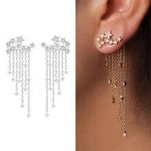 Mode 1 paire femmes or/argent couleur longue cristal fille femmes boucles doreilles bijoux étoile rationalisée élégant gland boucle doreille