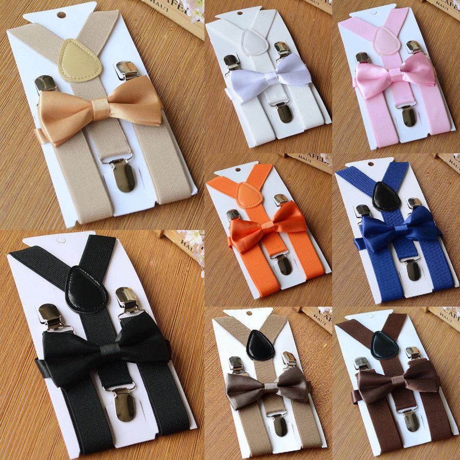 Unisex Kids Elastic Suspenders Bow Tie set Matching Tuxedo Suit Boy Girl Bowtie Wedding Costume Adjustable Y-Back Brace Belt
