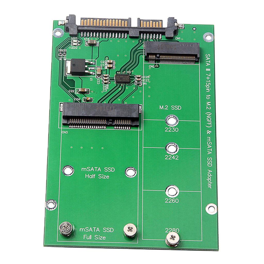 2,5 zoll M.2 NGFF MSATA 2-in-1 Mehrere Große SSD zu SATA III Konverter Karte