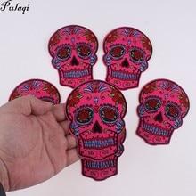 Pulaqi 5 pièces/lot crâne Patch mode fer sur fleur squelette brodé vêtements patchs couture patch pour jean Badge accessoire H