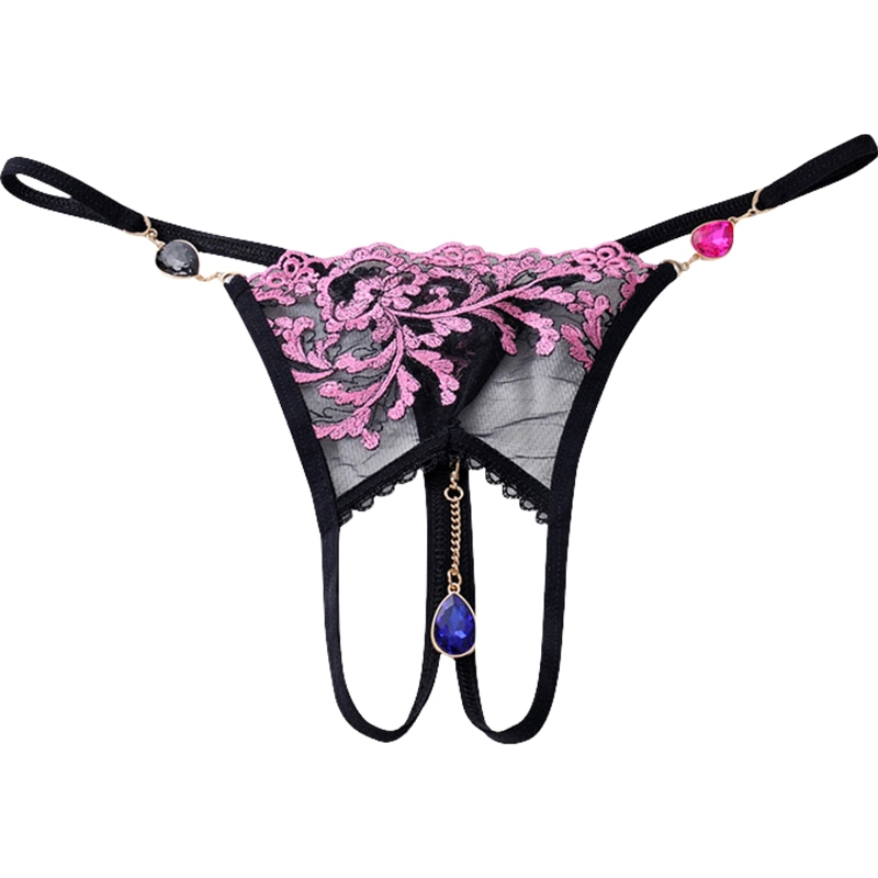 Luxury Women's Sexy underwear transparent lace Low Rise embroidered Floral G-String pendant thong Woman Panties floral embroidered high low blouse