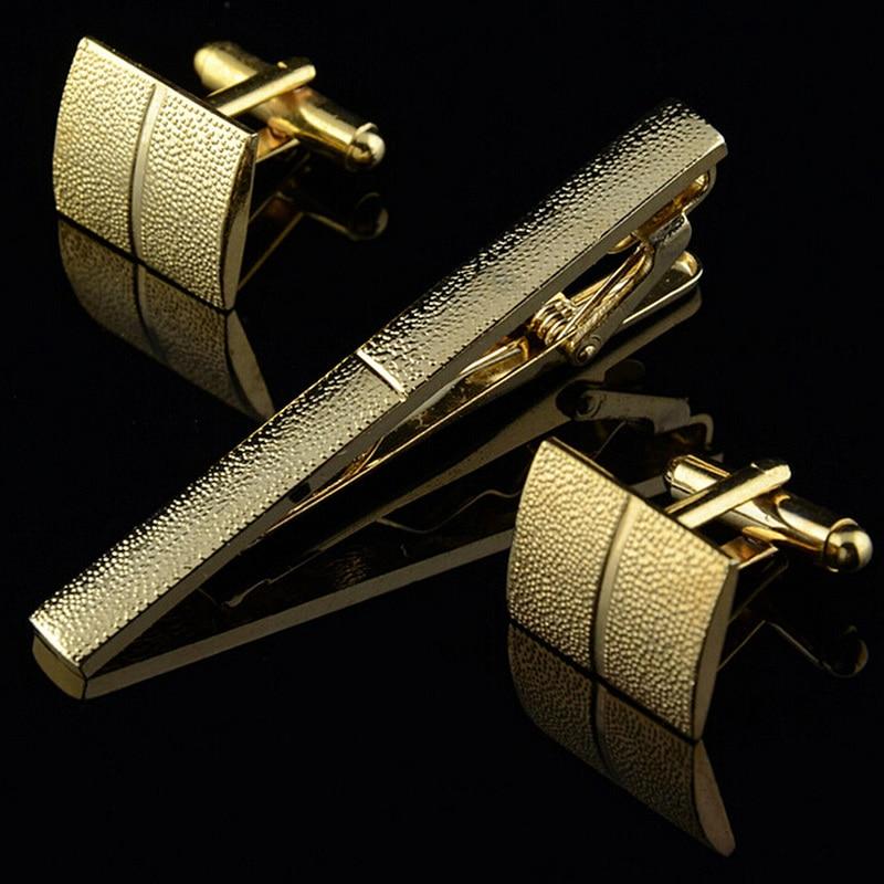 Plaqué or pince à cravate et bouton de manchette ensemble pour hommes classique mètre cravate Clips boutons de manchette ensembles nickelage collier broche bijoux de mode