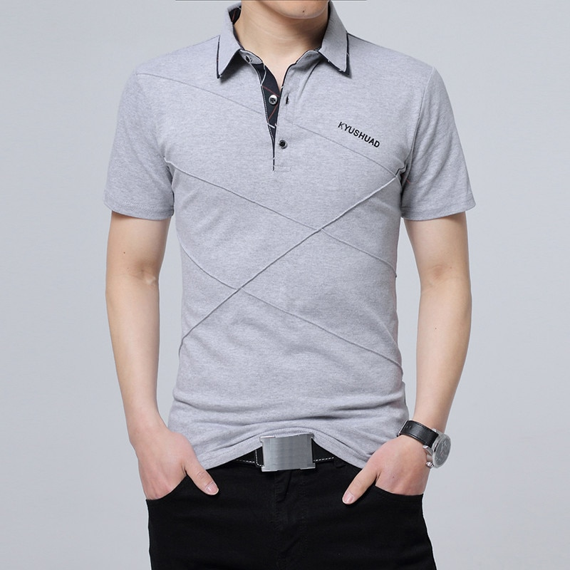 2020 NEW Casual Cotton Summer T-shirt Men Short Sleeve Elegant Men Work Tee Shirt Clothing Male Collar T Shirt Plus Size 4XL 5XL