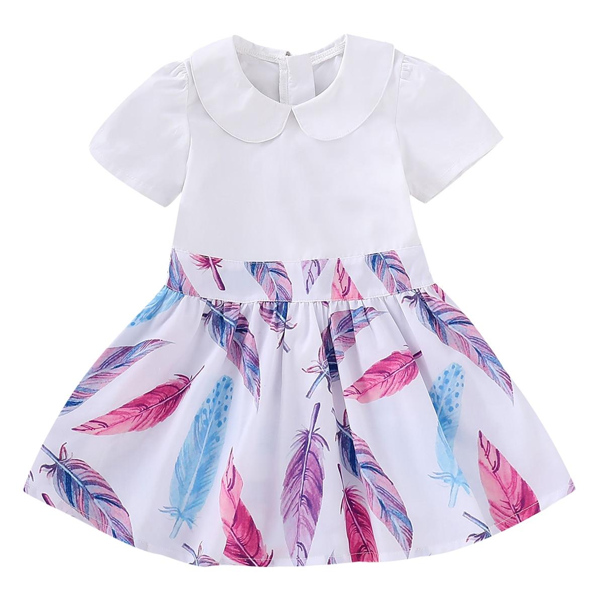 2019 verano chico niño vestidos de bebé niña vestidos de moda de impresión princesa vestido niña ropa de manga corta Anniversaire Enfant