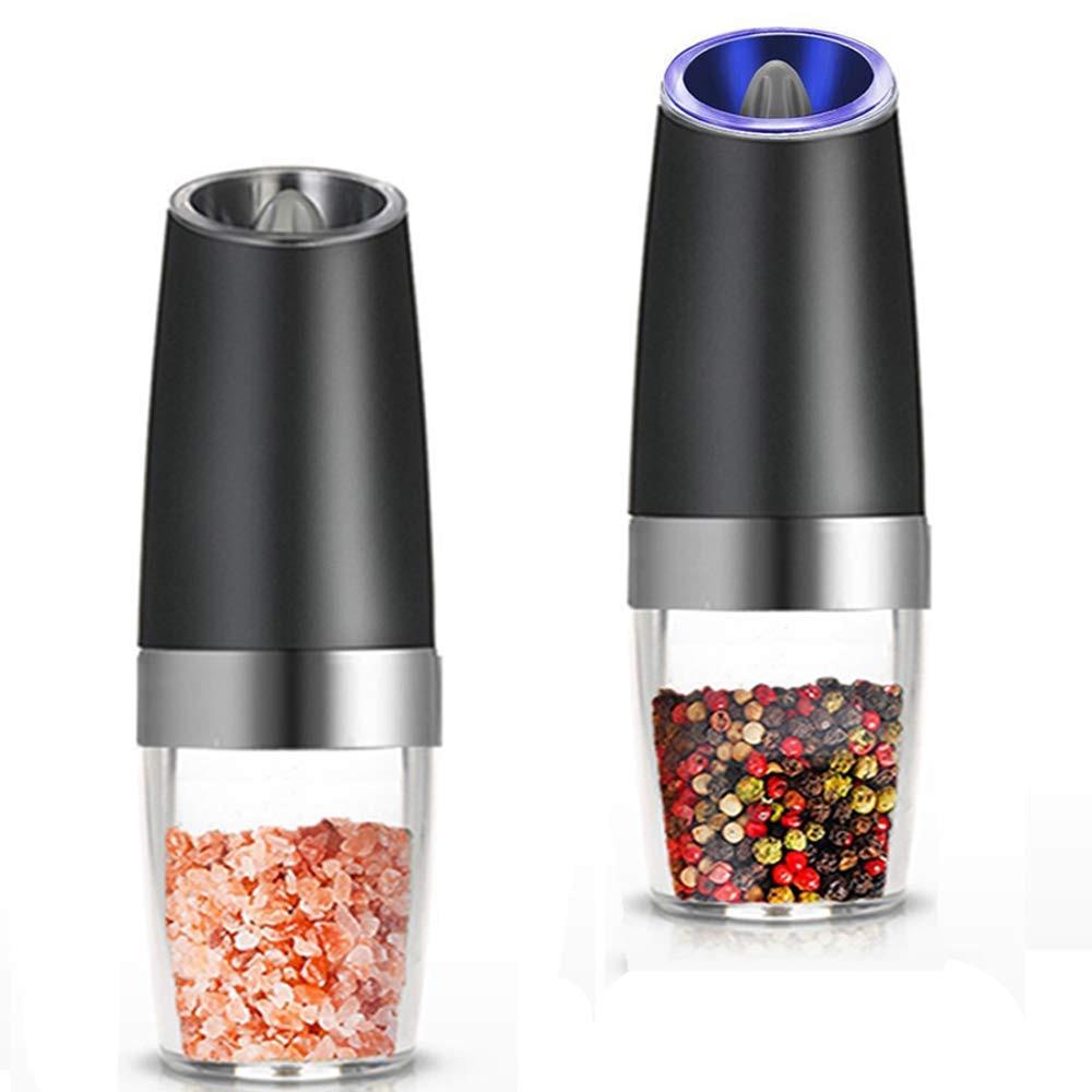 ALIM Горячая Премиум гравитационная электрическая мельница для соли и перца, набор из 2 соляных шейкеров с питанием от батареи, автоматическая Одноручная мельница для перца