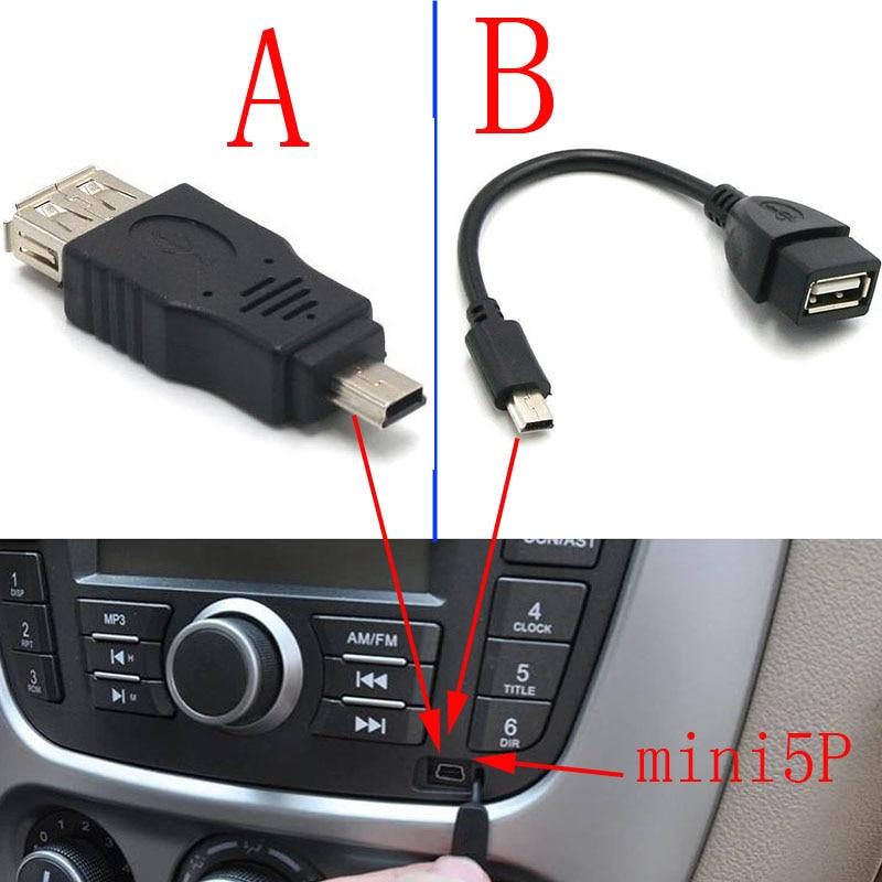 100 unids/lote prueba antes de enviar USB A hembra A Mini USB B macho adaptador de Cable 5P OTG V3 puerto cable de datos para la tableta de Audio del coche