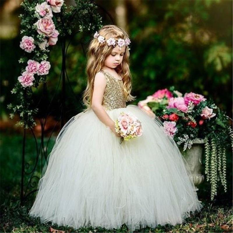 Emmababy, vestidos de dama de honor para niñas, moda, informal, cómodo, flores para bebés, Fiesta infantil, lentejuelas, vestidos de boda Princesa para niña bonita