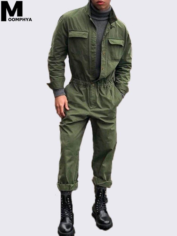 Moomphya 2019 nueva llegada de los hombres mono de manga larga abrigo Streetwear ropa mameluco traje de los hombres abrigo prendas de vestir