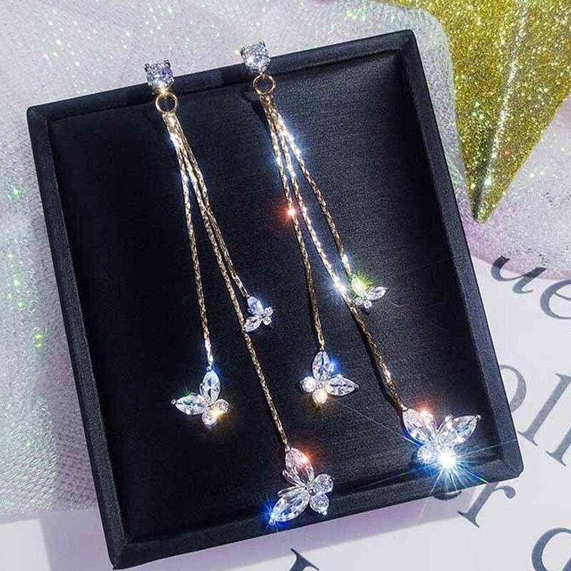 Pendientes de gota de cristal de moda para mujer, joyería de lujo, exageración, Pendientes colgantes, mariposa, estrella brillante, círculos geométricos, borla