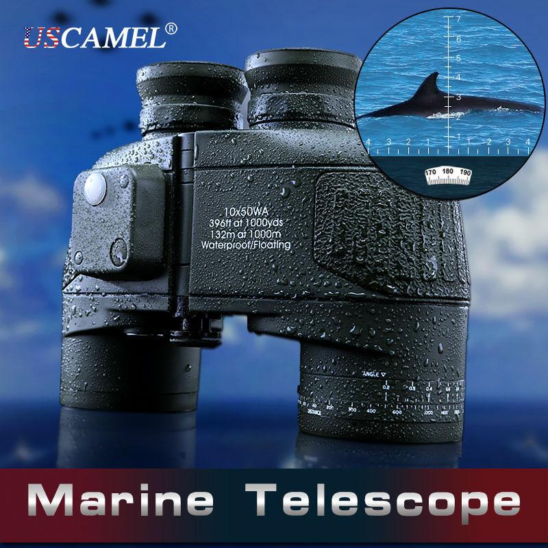 Новый военный бинокль 10х50 Hd, морской бинокль, дальномер, компас, охотничий телескоп, окуляр, водонепроницаемый, азот, армейский зеленый, Bak4
