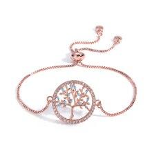 2020 Fashion New cz Zircon Clear Crystal Gold Charm Bracelets Bangles For Women Tree of Life Adjustable Bracelet Jewelry Gift