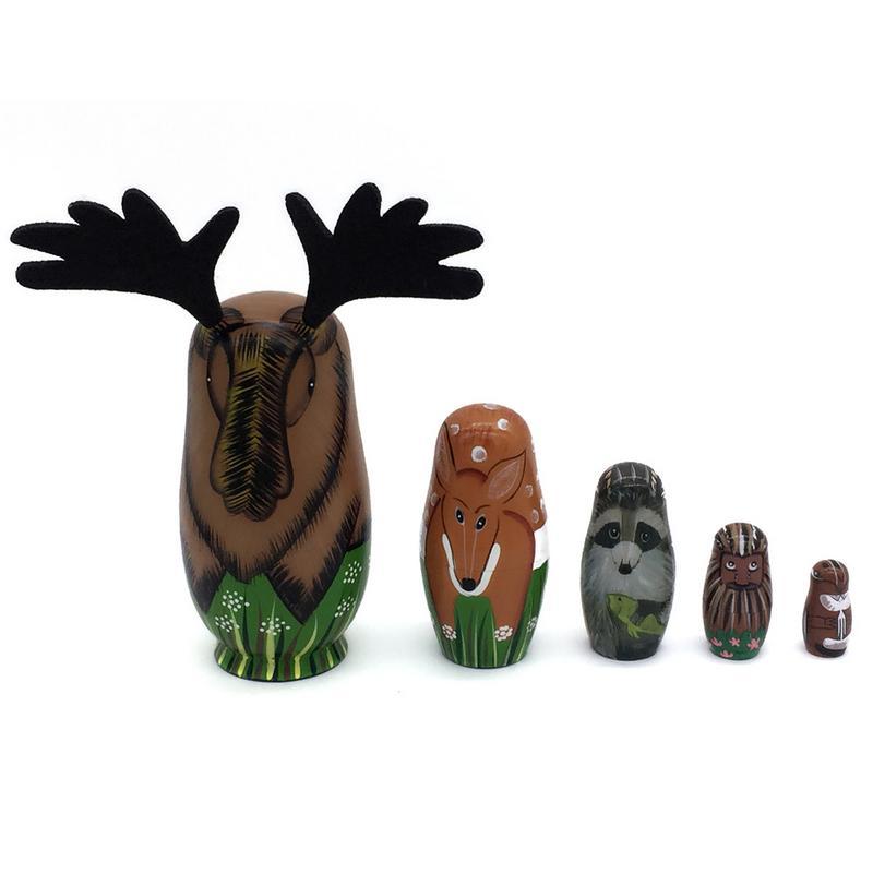 5PCS/set Creative Animal Elk Nesting Dolls Russian Matryoshka Doll Handmade Painted Set Toy Baby Learning Novel Funny Doll Toy