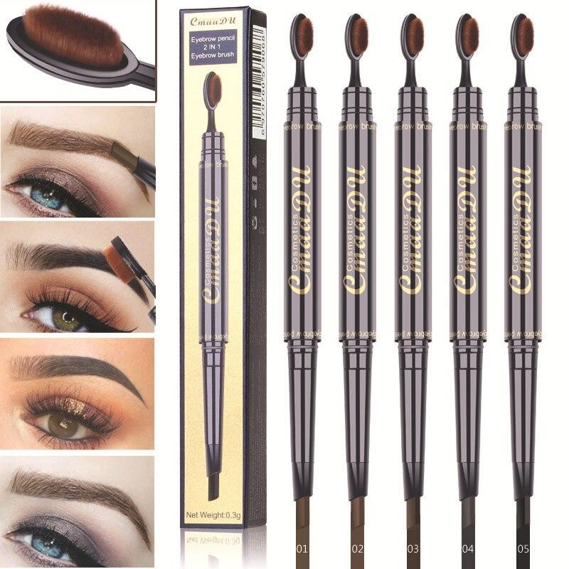 Водостойкие стойкие пигменты CmaaDu с двойной головкой, многофункциональная ручка для татуажа глаз и бровей, макияж, карандаши для бровей с овальной щеткой TSLM2
