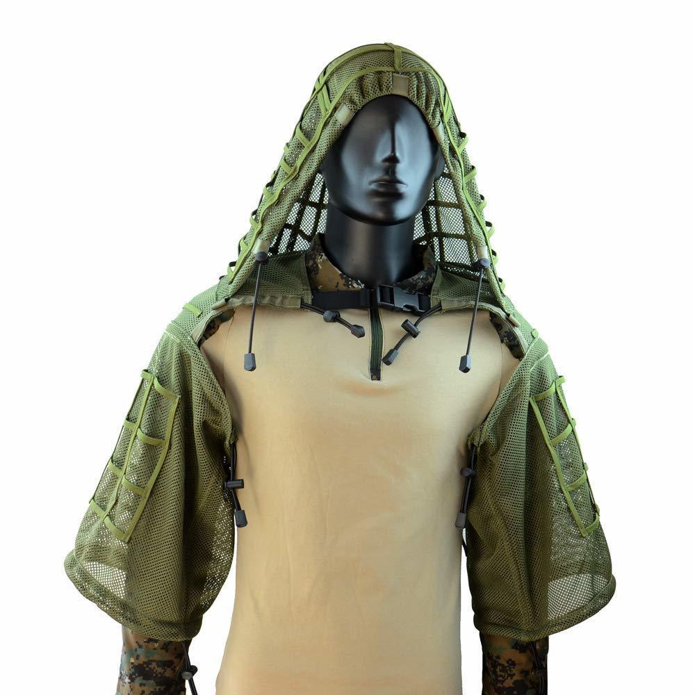 Ropa de francotirador escondida para entrenamiento táctico, traje Ghillie para caza al aire libre, malla CS de nailon transpirable, ropa de combate militar de secado rápido