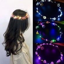 Serre-tête lumineux néon pour fête mariage   Couronne de cheveux, bandeau de fleurs, décoration de couronne néon pour noël, guirlandes lumineuses pour cheveux