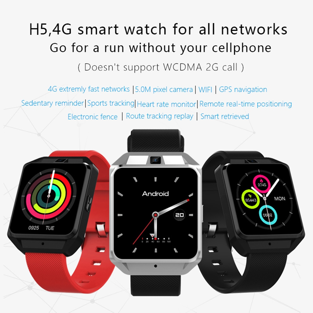 Microwear H5 GPS reloj teléfono inteligente 1,1 GHz 1G RAM + 8G ROM Monitor de ritmo cardíaco reloj inteligente Android 6,0 Sim 2MP Cámara Dispositivo portátil