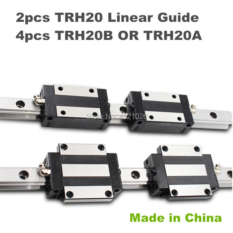Carril de precisión 2 uds CNC 20mm carril de guía lineal cuadrado TRH20 1100 a 1500mm 4 Uds TRH20B o TRH20A bloque deslizante para Router CNC DIY