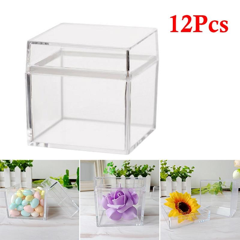 12 Uds 5CM hueco cubo transparente caja plástica para dulces imitar caja de cristal
