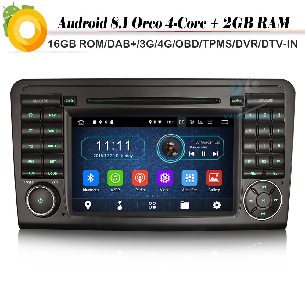 "7 ""2 Din DAB + Android 8,1 Autoradio GPS WiFi 4G DVR OBD reproductor Multimedia para Mercedes Benz ML/clase GL W164 X164"