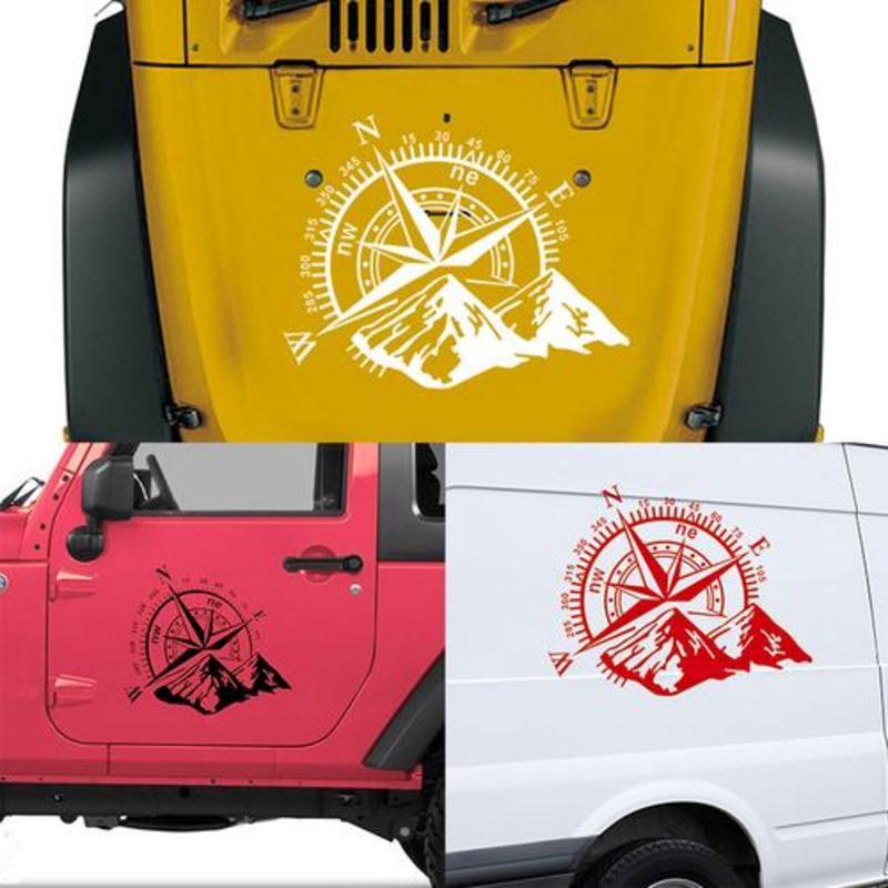 1PC 3D 4X4 Car Sticker Compass Rose Navigate Mountain For Jeep F150 Hood Compass Wrangler Vinyl Sticker Car Decal 50X60CM