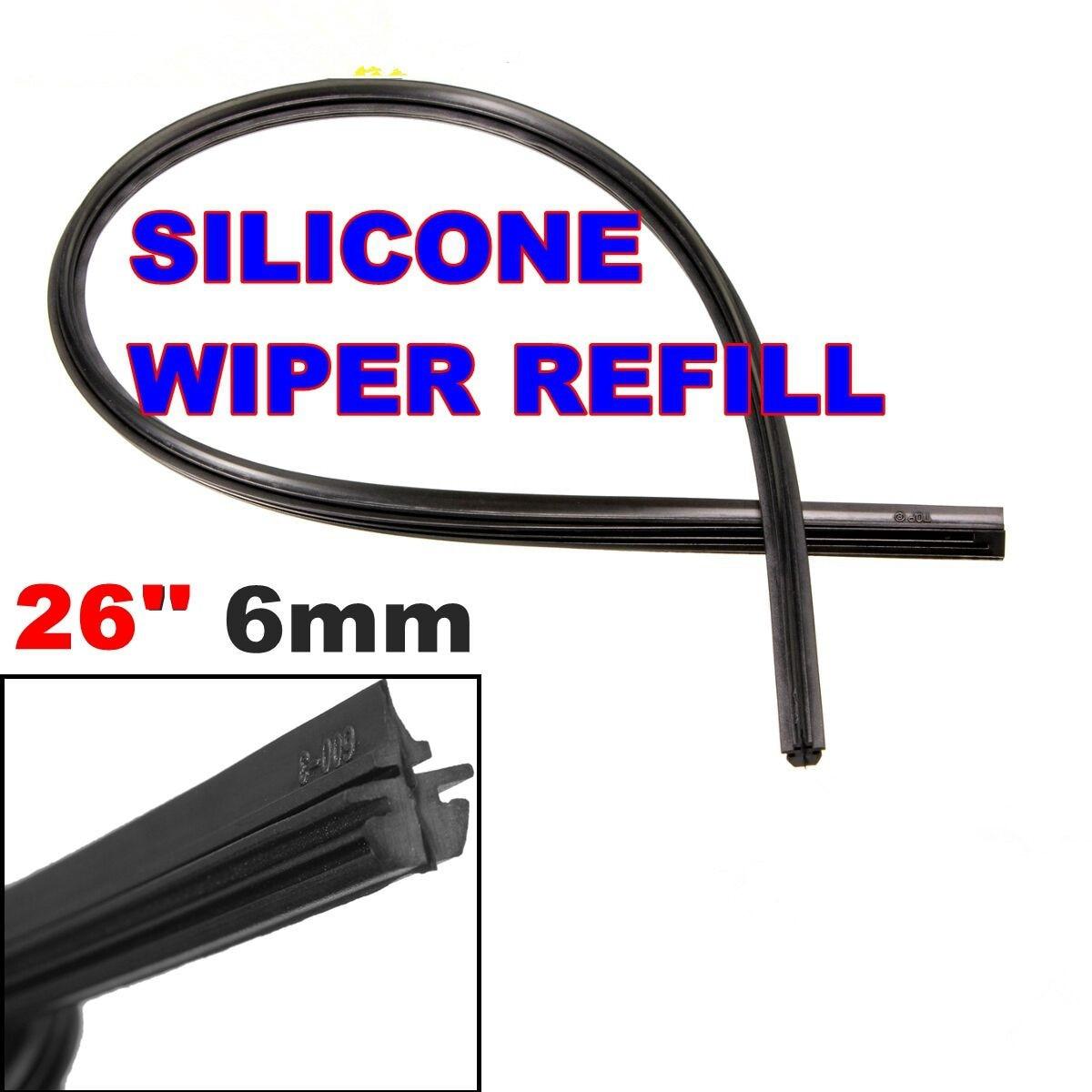 Universal 24 26'' 6mm Car Auto Vehicle Silicone Windscreen Wipers Wiper Blade Refill Black