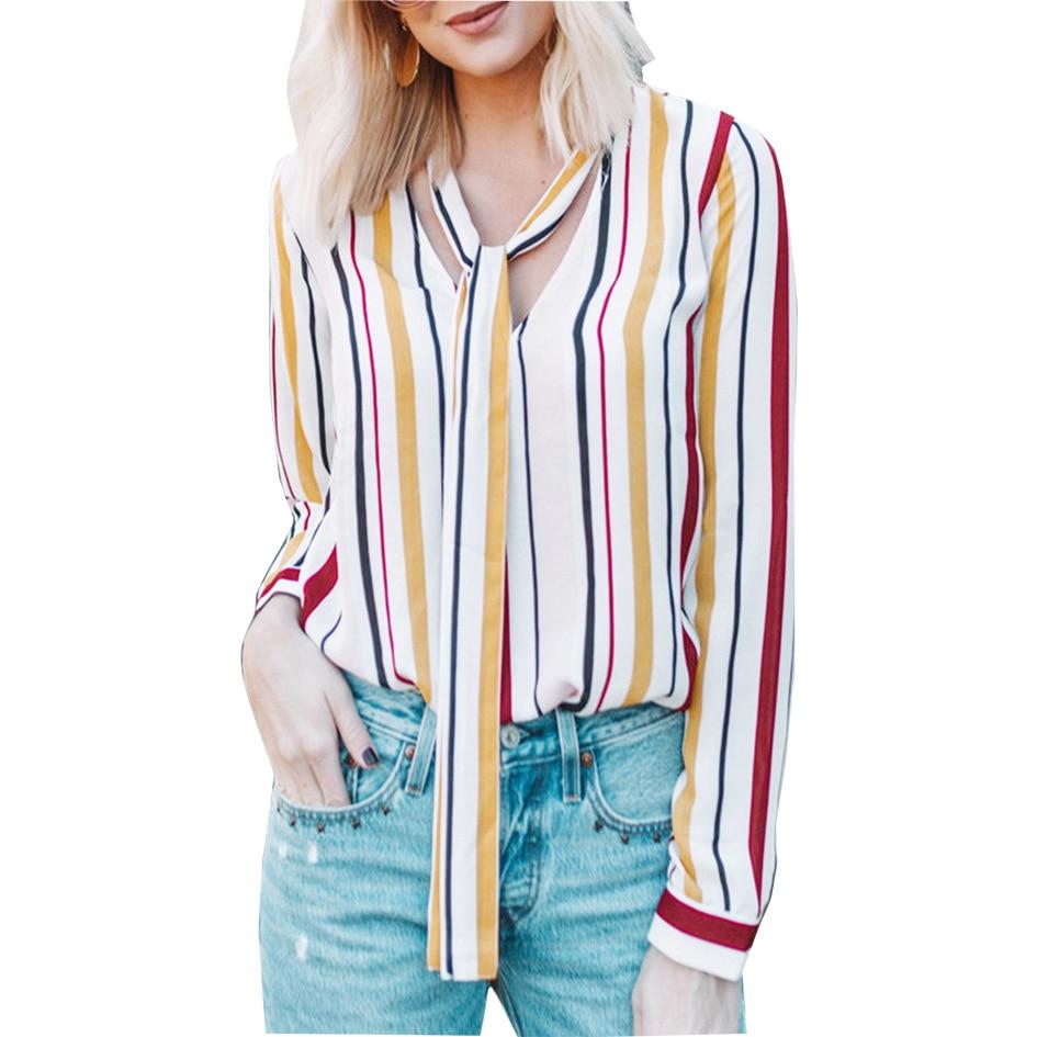 Sexe Mara Casual de manga larga para mujer blusa de gasa blanca de verano con cuello en V rayas camisas para mujer cinta Streetwear blusas femeninas