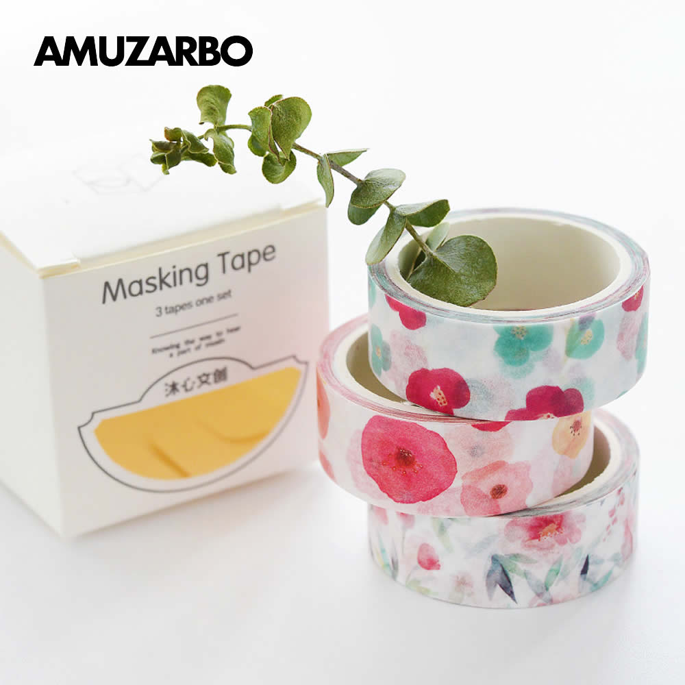 3 Pcs/Box masking tape Fresh Pattern Floral Plant Sweet Candy Totoro Planet washi tape DIY decoration adhesive stationery
