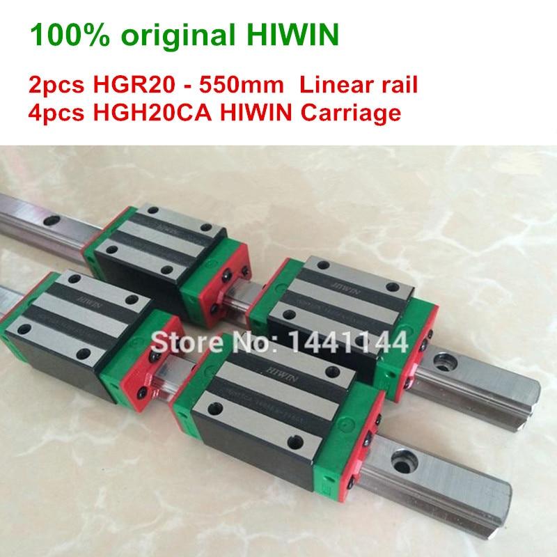 HGR20 HIWIN linear schiene 2 stücke 100% original HIWIN schiene HGR20-550mm Linear schiene + 4 stücke HGH20CA Wagen CNC teile