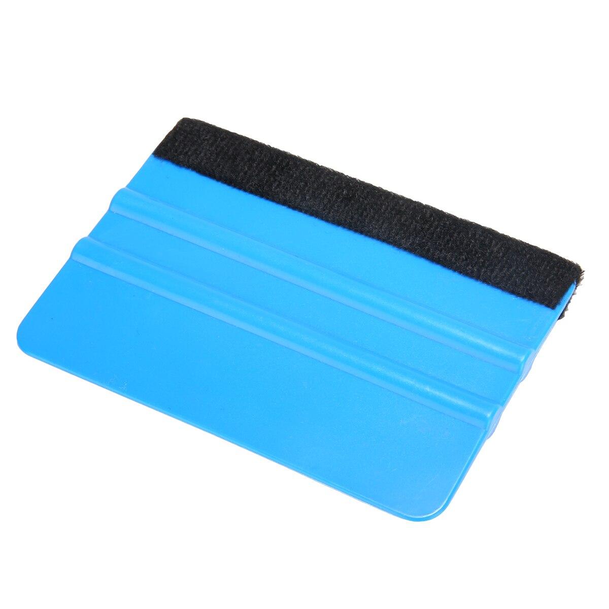 Blue Plastic Car Vinyl Squeegee Blade Decal Wrap Application Tool Soft Felt Edge Scraper