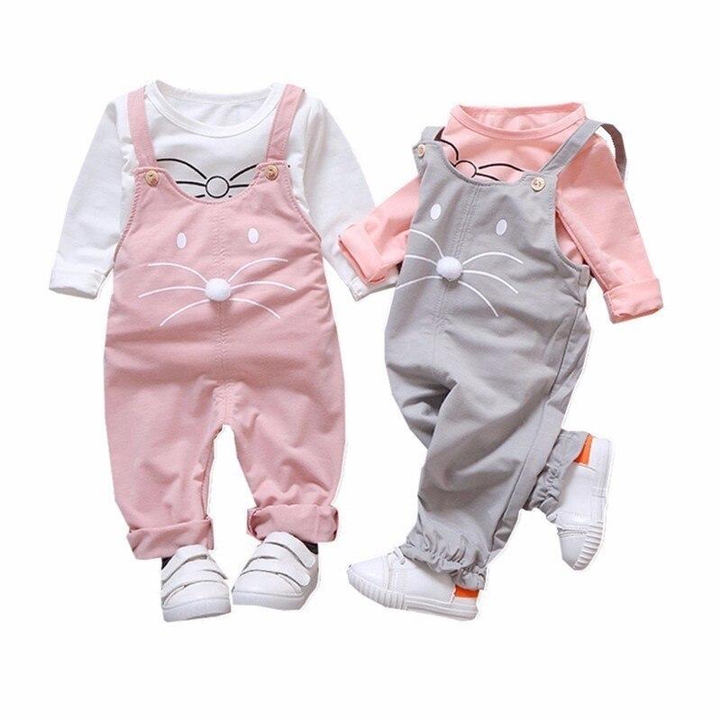 Nuevos conjuntos de ropa de moda para niños, bonitos de chicas, conjuntos de ropa con dibujos para bebé, camisetas, monos, 2 unidades/conjunto, chándales para primavera y verano para niños
