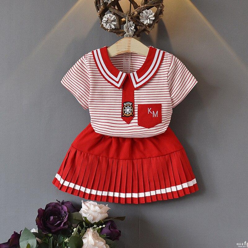 Conjunto de falda de niñas de algodón de verano nueva manga corta a rayas de cuello de muñeca camiseta + Falda corta ropa de bebé para niños